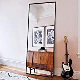 ONXO Full Length Mirror Large Floor Mirror Standing or Wall-Mounted Mirror Dressing Mirror Frame Mirror for Living Room/Bedroom/Cloakroom (65X22, Black)