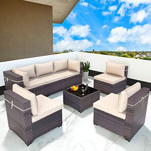 Gotland 7 Piece Outdoor Patio Furniture Sets All-Weather Outdoor...