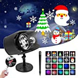 Holiday Projector Lights Outdoor 2-in-1 Ocean Wave Christmas Projector Lights Waterproof Remote Control, No Slide, 9 Waving Patterns Outdoor Indoor Xmas Party Yard Garden Decorations