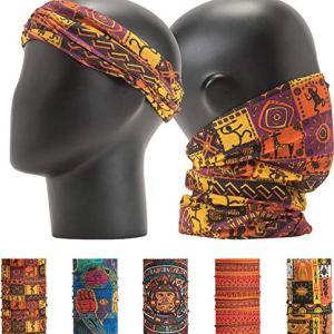 LEEVO Pattern Bold Headwear Scarf Boho Headband Wrap Shield Neck Gaiter Bandana