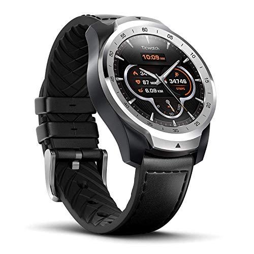 Ticwatch Pro Montre connectée Smartwatch avec cardiofréquencemètre, Affichage Multicouches (Google Assistant, GPS, Wear OS, NFC) Compatible avec Android et iOS, Noir