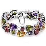 Ladies Bracelets Vintage Style Dual Layer Tear Drop Multicolor Amethyst Garnet Birthstone Bracelet 8 Inch