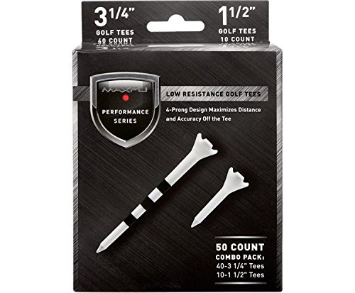 Maxfli Performance Series Low Resistance 3.25' & 1.5' White Golf Tees - 50 Pack
