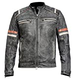 Mens Retro Cafe Racer Vintage Biker Distressed Black Motorcycle Leather Jacket