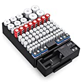 EBL Wall Mount Battery Organizer Storage Box with a Accurate Digital LED Screen Battery Tester - Hold Up to 88 Batteries AA AAA C D 18650 9V Button Battery (Not Includes Batteries)