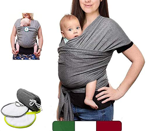 BabyTools® Baby Sling (100% MADE IN ITALY) with 2 BIBS as a Gift - Baby Cotton Baby Carrier - Baby Baby Sling in Soft, Light Fabric, Certified up to 15 Kg