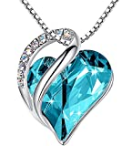 Leafael Infinity Love Heart Pendant Necklace with Turquoise Aquamarine Blue Birthstone Crystal for December, Healing Stone for Calmness, Jewelry Gifts for Women, Silver-tone, 18'+2'