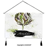 SCOCICI Durable Material Multipurpose W24xL17inch Wall Hanging Tapestry Hand Drawn Delicious Fresh Vegetable Healthy Menu Good Eats Super Food Decorative Painting Living Room Painting Fabric Backgrou