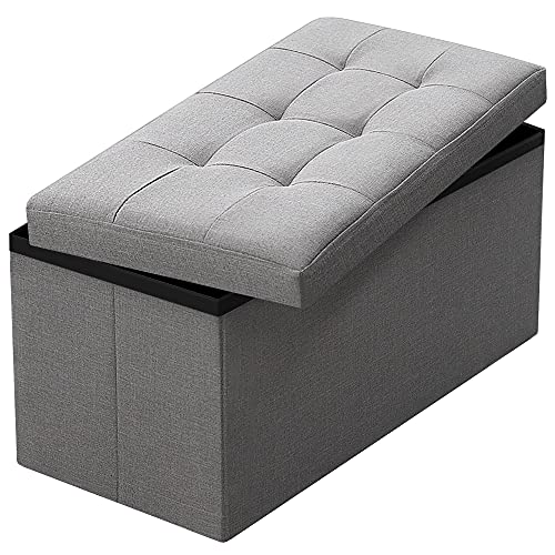 Camabel Folding Storage Ottoman Bench Cube 30 inch Fabric Storage Chest with Memory Foam Seat Footrest Padded Upholstered Stool Tufted for Bedroom