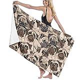 Funny Pugs Microfiber Pool Bathroom Beach Towel Oversized Soft Absorbent Blanket for Women/Men