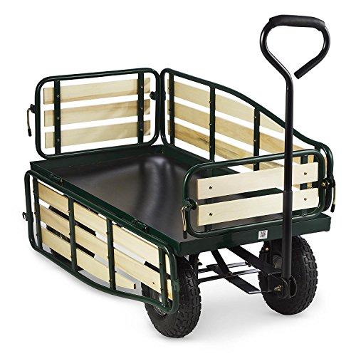 Waldbeck Ventura - Bollerwagen, Handwagen, abklappbare Seitenteile, witterungsbeständig, 300 kg Belastbarkeit, Transport Schwerer Lasten, Stabiler Rahmen, großer Laderaum, dunkelgrün