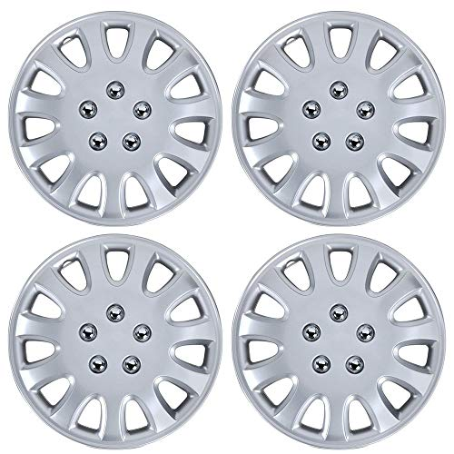 BDK Performance Wheel Covers (4 Pack) of Premium 14' inch Hubcap OEM Replacements for Steel Wheels, High Grade ABS with Retention Ring, Silver