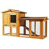 Sunnyglade Chicken Coop Large Wooden Outdoor Bunny Rabbit Hutch Hen Cage with Ventilation Door, Removable Tray & Ramp Garden Backyard Pet House Chicken Nesting Box