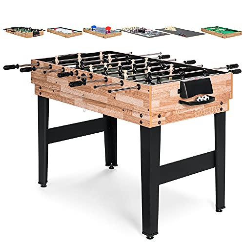 Best Choice Products 2x4ft 10-in-1 Combo Game Table Set for Home, Game Room, Friends & Family w/Hockey, Foosball, Pool, Shuffleboard, Ping Pong, Chess, Cards, Checkers, Bowling, and Backgammon