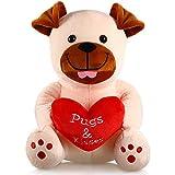 Animal Relleno de Peluche de San Valnetín Animal de Felpa de 10 Pulgadas Juguete de Peluche de Sosteniendo Corazón Rojo Suave para San Valentín, Boda, Aniversario (Perro de Corazón Amoroso)