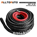 AlltoAuto Winch Rope, 3/8' x 92'-25000 LBs Synthetic Winch Rope Line Cable with Protective Sleeve for Truck 4WD Off-Road Vehicle Winch Accessory