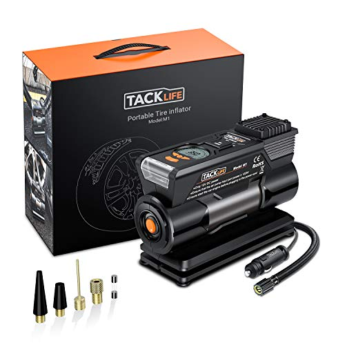TACKLIFE M1 Tire Inflator, DC 12V Mini Digital Air Compressor Pump with Precision Gauge, 4 Nozzle Adaptors and Extra Fuse - Low Noise