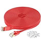Cat7 Flat Ethernet Cable, 50 Ft 10 Gigabit High Speed Solid Computer Network Cord with Snagless Rj45 Connectors for Xbox,PS4,Modem,Router,Networking Switch Faster Than Cat5e Cat5 Cat6 Cable,Red