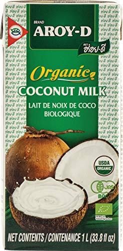 AROY-D BIO Kokosmilch (naturbelassen, ohne Zusätze, ohne Konservierungsstoffe, Fettgehalt ca. 19%, Ideal zum Kochen, Backen, für Desserts und Cocktails) 2er Vorteilspack à 1000 ml