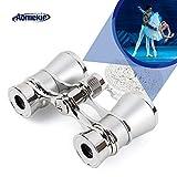 AomekieOperaGlassesBinoculars3X25TheaterGlassesMiniBinocularCompact with Chain forAdultsWomenKidsinMusicalConcert(Silver)