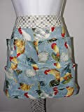 Handmade Egg Gathering & Collecting Apron All over Blue Rooster Chickens (Pockets Hold Eggs) Made in the USA!