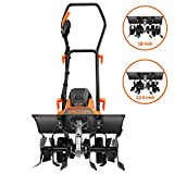 TACKLIFE Advanced Tiller, 18-Inch Electric Tiller, 13.5 Amp, Removable Blade, Adjustable Working Width(18''/12.5''), 8'' Tilling Depth, Foldable Handle, Adjustable Wheels, Tiller Cultivator - TGTL01A