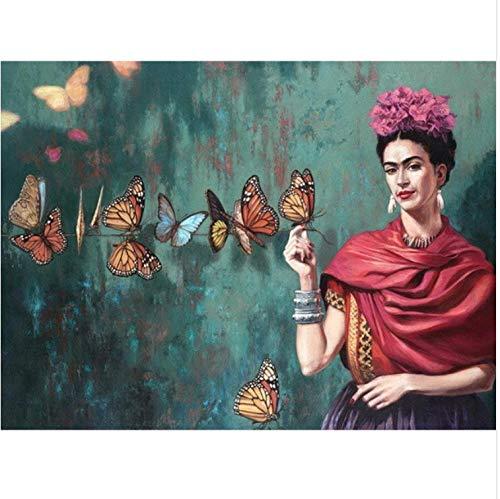 Diamante Pintura Bordado 5D Diy Diamond Mosaico Frida Kahlo Y Mariposa Rhinestone Kits De Punto De Cruz Decoración Del Hogar 40X50CM