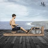 Mr Rudolf Rowing Machine for Home Use,Water Resistance Vintage Yellow Oak Rower with Bluetooth Monitor Home Gyms Training Equipment Sports Exercise Machine Fitness Indoor
