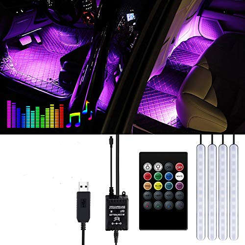 Striscia LED Auto - Trongle Luci LED Interne per Auto con 48 LED RGB, 4 Barre Striscia LED Auto 8...
