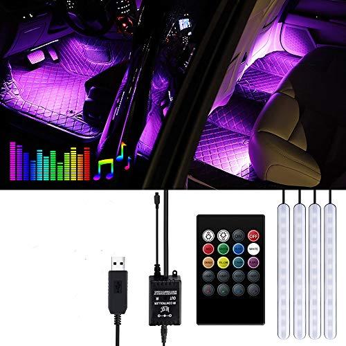 Striscia LED Auto - Trongle Luci LED Interne per Auto con 48 LED RGB, 4 Barre Striscia LED Auto 8 Colori, Illuminazione Auto Strisce 4 Modalit Musica, Telecomando Alimentato da USB