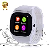 Smart Watch Phone Watch Bluetooth Smartwatch Fitness Tracker Blood Pressure Heart Rate Sleep Monitor Smart Wrist Watch All Functions Match for IOS iPhone 6S Plus 7 8 and Android Men Women Kids (White)
