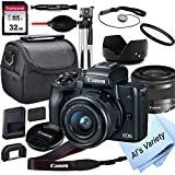 Canon EOS M50 Mirrorless Digital Camera with 15-45mm Lens + 32GB Card, Tripod, Case, and More (18pc...