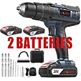 Cordless Drill Driver Kit,Cordless Drill with 2 Batteries and Fast Charger,20V Max Impact Hammer Drill Set,1/2' All-Metal Self-lock Chuck,20+3 Torque Setting,500 In-lbs Torque,Variable Speed by S-LONG
