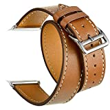 Valkit Compatible with Apple Watch Band 38mm 40mm 42mm 44mm, Double Tour Replacement Genuine Leather...