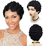 Short Finger Wave Curly Wigs for Black Women,African American Synthetic Mommy Wig By Janet Collection