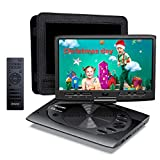 MYDASH Portable DVD Player 12.5' for Car, Kids DVD Player with 10.1' HD Swivel Display Screen, SD Card Slot and USB Port, Car Headrest Mount Provided, Exclusive Button Design, Black