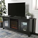 Lucas 58 Inch Fireplace Television Stand with Glass Doors in Black