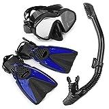 Kit de Plongée/Snorkeling Ensemble Masque + Cube + Palme + Sac de Plongée Randonnée Aquatique...