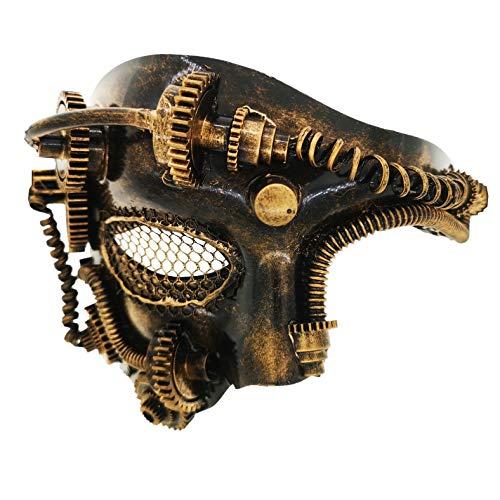 Ubauta Steam Punk Phantom Of The Opera Vintage Mechanical Men Venetian Mask For Masquerade/Party/Ball Prom/Halloween/Mardi Gras(Gold Punk Mesh Eye)