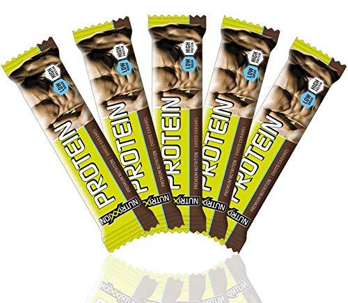 NUTRIXXION® Protein Riegel HIGH PROTEIN - LOW SUGAR | Fitness Eiweissriegel für Diät oder Muskelaufbau | Geschmack Choco Caramel, Set 5 x 35g