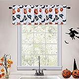 CAROMIO Valances for Windows, Pumpkins/Bats/Witch Hat/Lanterns Printed Halloween Decorations Cafe Kitchen Curtains Bathroom Window Curtains, 55x15 Inches