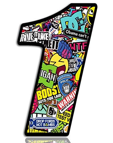 Biomar Labs® Número 1 DC Bomb Calavera Vinilo Adhesivo Pegatina Coche Auto Motocross Moto Sport Start Racing Tuning N 201