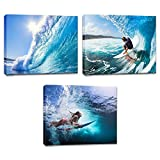 Innopics 3 Large Piece Blue Tropical Seascape Canvas Wall Art Surfing Ocean Wave Picture Print Surfer Extreme Water Sport Painting Modern Home Decor Office Teens Bedroom Living Room Framed Decoration