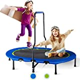 Merax Kids Trampoline with Handrail and Safety Cover, Mini Parent-Child Trampoline for Two Kids, Foldable No-Spring Band Rebounder (Oval-5)