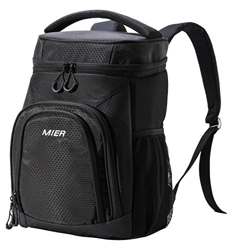 MIER Insulated Cooler Backpack Leakproof Soft Cooler for Lunch, Picnic, Hiking, Beach, Park, 24 Can, Black