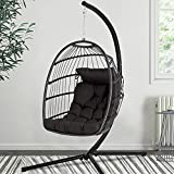 Fundouns Swing Egg Chair with Stand for Indoor Outdoor, Patio Wicker Hanging Chair, Soft Cushion and Steel Stand, for Backyard Bedroom Balcony,350 lbs Capacity (Grey)