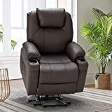 Esright Power Lift Chair Electric Recliner Sofa for Elderly, Faux Leather Electric Recliner Chair with Heated Vibration Massage, Side Pocket Cup Holder and USB Port, Dark Brown