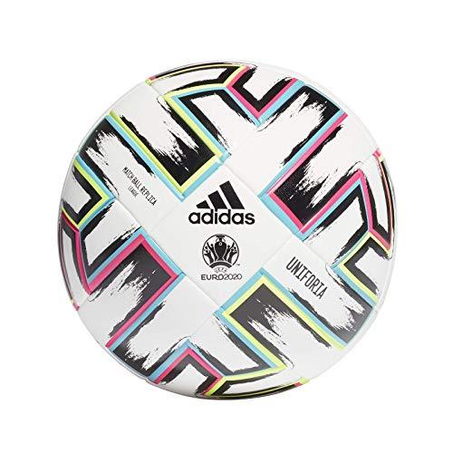 adidas Men\'s UNIFO LGE XMS Soccer Ball, White/Black/Signal Green/Bright Cyan, 5