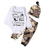 Newborn Baby Boys Funny Bodysuits with Leggings Caps 3pcs Outfit Clothes (0-3M, brown)