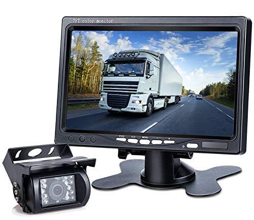 DVKNM Upgrade Backup Camera Monitor Kit,1280X720P HD,IP69 Waterproof Rearview Reversing Rear View Camera 7 LCD Reversing Monitor Truck/Semi-Trailer/Box Truck/RV  HD Transmission, Four-pin  (TZ101)